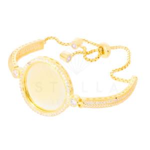 Damen Armband Plättchen Silber 925 Vergoldet Kreis...
