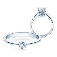 Verlobungsring 585(14K) Diamantring 6er Krappen Fassung Weißgold 0,10 carat Ehering Solitärring