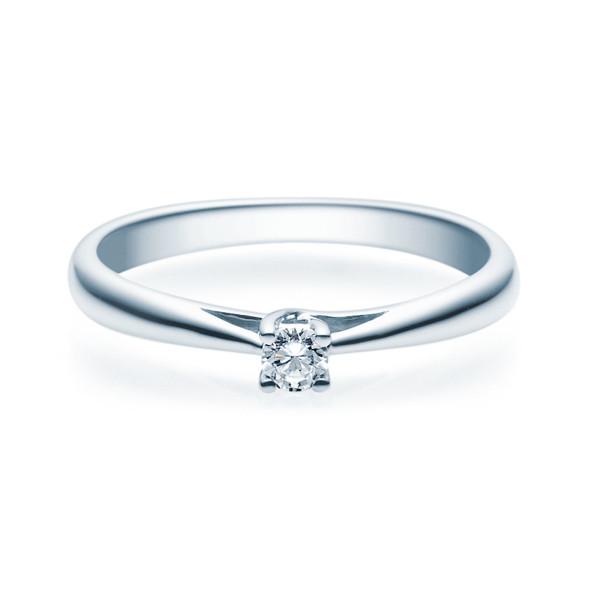 Verlobungsring 585(14K) Diamantring 4er Krappen Fassung Weißgold 0,08ct. Solitärring Ehering