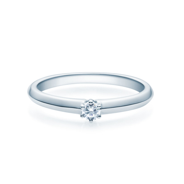 Verlobungsring 585(14K) Diamantring Weißgold 0,08ct. Solitärring Ehering 4er Krappen Fassung