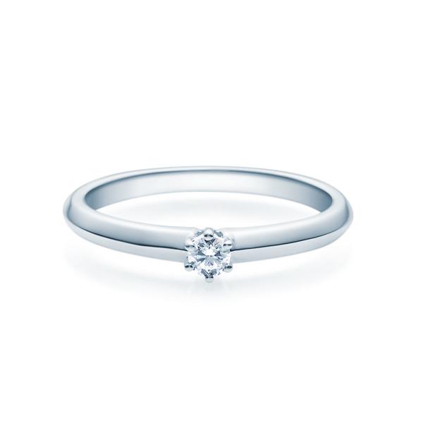 Verlobungsring 585(14K) Diamantring Weißgold 0,10ct. Ehering Solitärring 6er Krappen Fassung