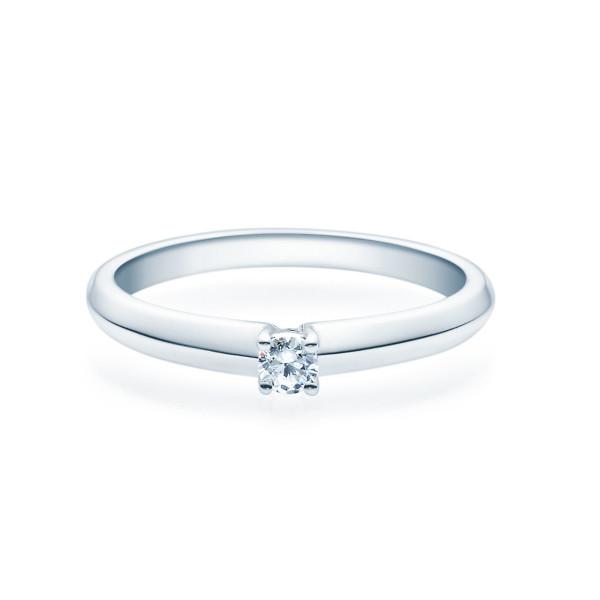 Verlobungsring 585(14K) Diamantring Weißgold 0,08ct. Solitärring Spannring 4er Krappen Fassung