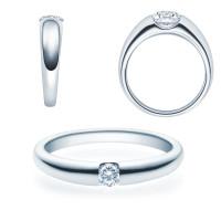 Verlobungsring 585(14K) Diamantring Weißgold 0,08ct. Solitärring Spannring Art05