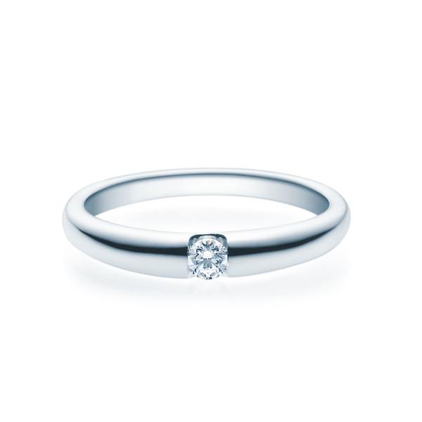 Verlobungsring 585(14K) Diamantring Weißgold 0,10ct. Solitärring Spannring Art05