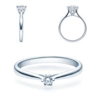 Verlobungsring 585(14K) Diamantring Weißgold 0,10ct. Solitärring Spannring Art07