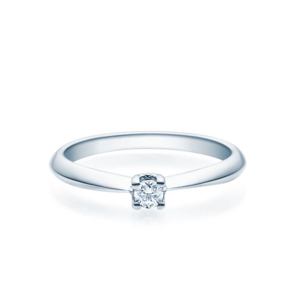 Verlobungsring 585(14K) Diamantring Weißgold 0,10ct. Solitärring Spannring Art09