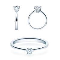 Verlobungsring 585(14K) Diamantring Weißgold 0,08ct. Solitärring Spannring Art16