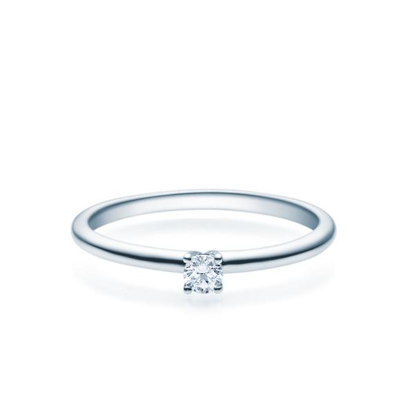 Verlobungsring 585(14K) Diamantring Weißgold 0,10ct. Solitärring Spannring Art18