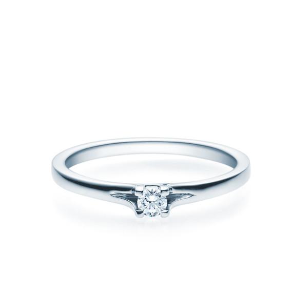 Verlobungsring 585(14K) Diamantring Weißgold 0,08ct. Solitärring Spannring Art20