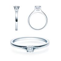Verlobungsring 585(14K) Diamantring Weißgold 0,10ct. Solitärring Spannring Art20