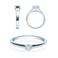 Verlobungsring 585(14K) Diamantring Weißgold 0,08ct. Solitärring Spannring Art22