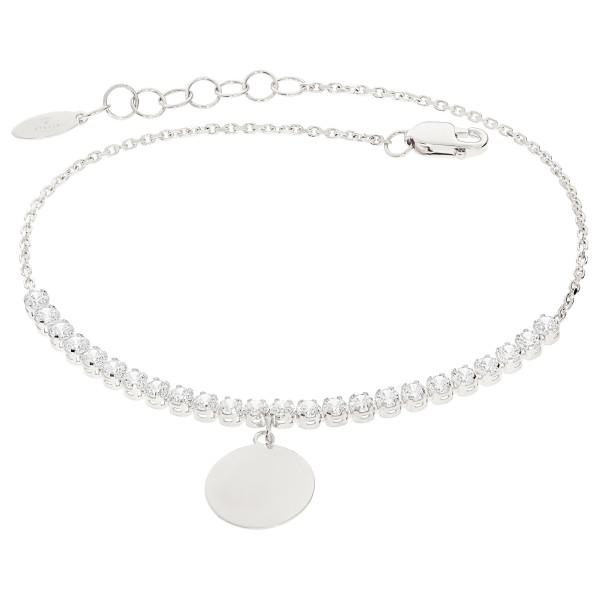 585er Weißgold Damen Armband Zirkonia Plättchen Kreis Armkette inkl. Gravur Etui