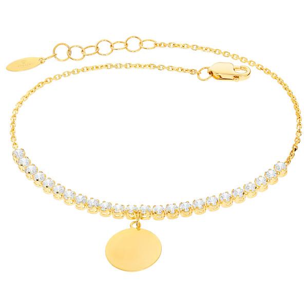Damen Armband 585er Gelbgold Zirkonia Plättchen Kreis Armkette inkl. Gravur Etui