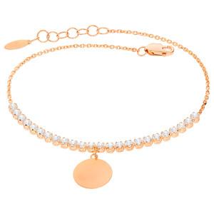 Damen Armband 585er Rotgold Zirkonia Plättchen Kreis...