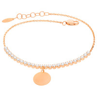 Damen Armband 585er Rotgold Zirkonia Plättchen Kreis Armkette inkl. Gravur Etui