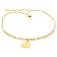 Damen Armband Gelbgold 585 Zirkonia Herz Liebe Schmuck Herz Armkette inkl.Gravur