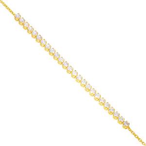 Damen Armband 585er Gelbgold Zirkonia Armkette...