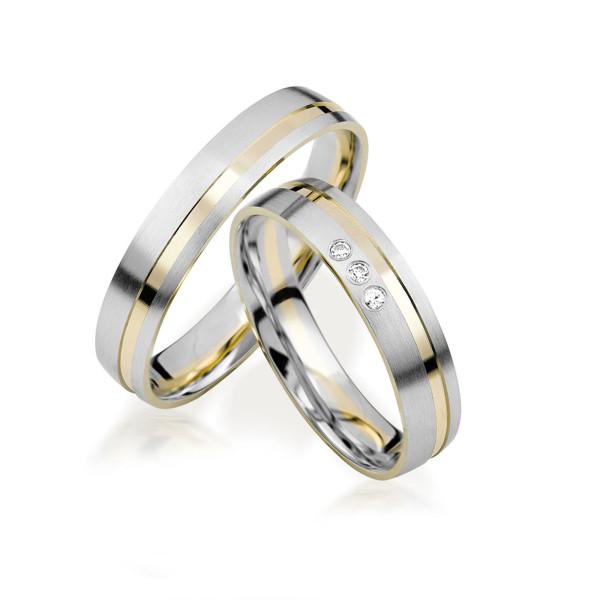 2 x 333 Bicolor Trauringe Diamant 0,03ct Eheringe Hochzeitsringe Partnerringe R238
