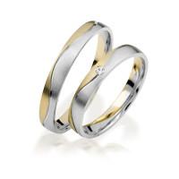 2 x 333 Bicolor Trauringe Diamant 0,02ct Eheringe Hochzeitsringe Partnerringe R239