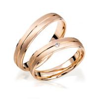 2 x 333 Rosegold Trauringe Diamant 0,02ct Eheringe Hochzeitsringe Partnerringe R242