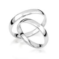 2 x 333 Weißgold Trauringe Diamant 0,02ct Eheringe Hochzeitsringe Partnerringe R244