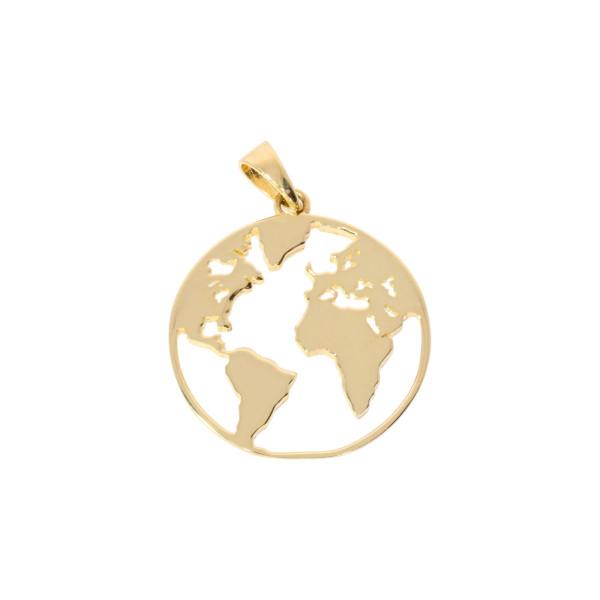 Damen Anhänger Weltkugel 585 Gold ohne Kette