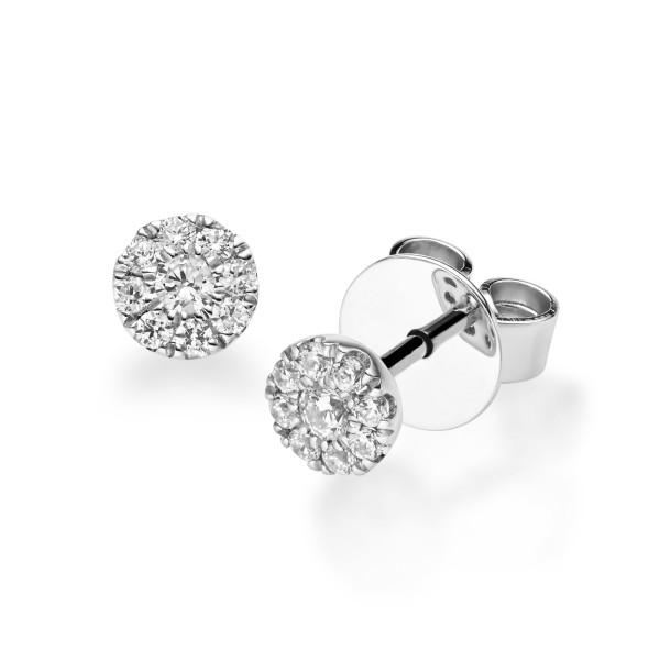 Diamonds Ohrstecker Solitaire Platin 950 Ohrringe 18-Brillanten ca.0,200ct.