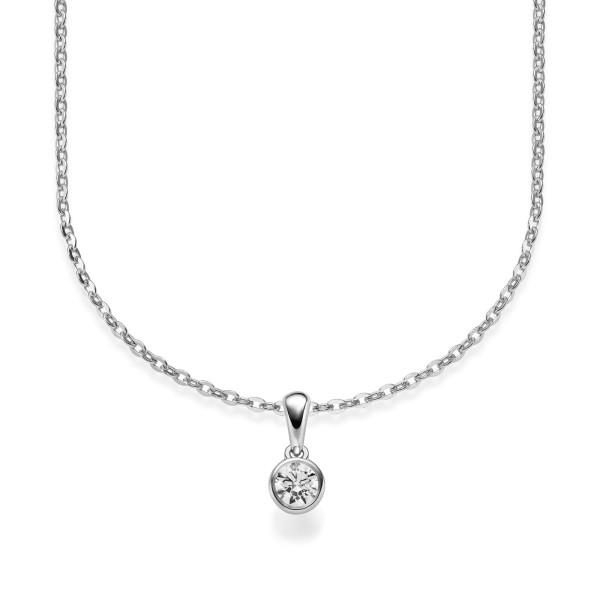 Damen Collier 585er Weißgold Diamant 0,080ct. Zargenfassung 42cm Gold Kette Schmuck