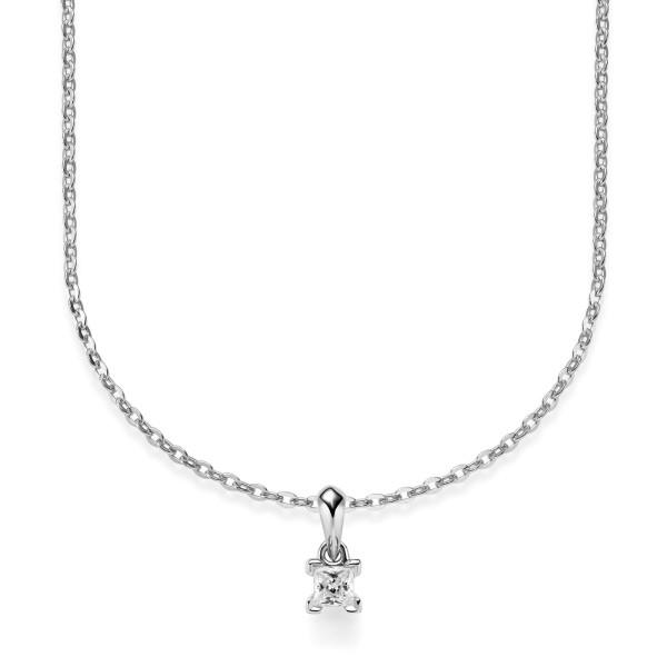 Damen Collier 750er Weißgold Diamant 0,080ct. Fassung 42cm Gold Kette Schmuck