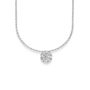 Damen Collier 750er Diamant Pavé Fassung 42cm Gold Kette Schmuck Gelbgold Weißgold