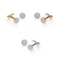 Diamonds Ohrstecker Solitaire 750er Gold Ohrringe 18-Brillanten ca.0,200ct Ohrschmuck