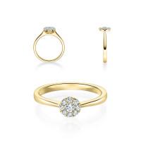 Verlobungsring 750er Gold Diamantring 0,150ct.Illusion Kreisfassung Solitärring Spannring