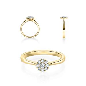 Verlobungsring 750er Gold Diamantring 0,150ct.Illusion...