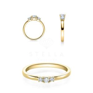 Verlobungsring 585er Gelbgold Diamantring Krappenfassung...
