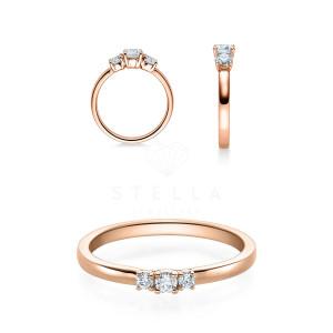 Verlobungsring 585er Rotgold Diamantring Krappenfassung...