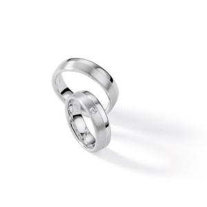 2 x Silber 925 Trauringe mit Diamant - Silver Brilliance