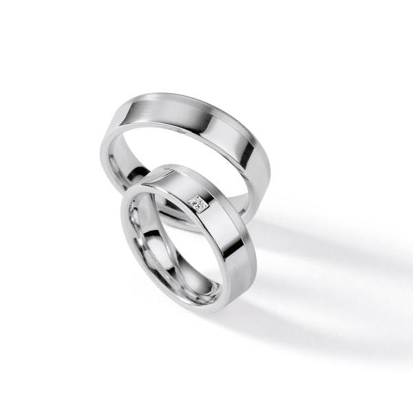 2 x Silber 925 Trauringe mit Diamant - Silver Brilliance 111Z