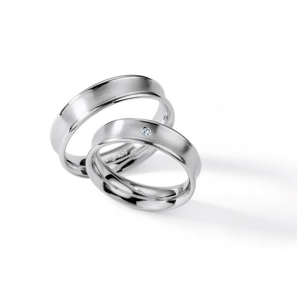2 x Silber 925 Trauringe mit Diamant - Silver Brilliance 112Z