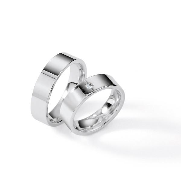 2 x Silber 925 Trauringe mit Diamant - Silver Brilliance 113Z