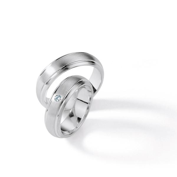 2 x Silber 925 Trauringe mit Diamant - Silver Brilliance 114Z