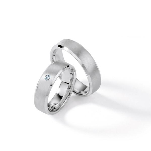 2 x Silber 925 Trauringe mit Diamant - Silver Brilliance 115Z