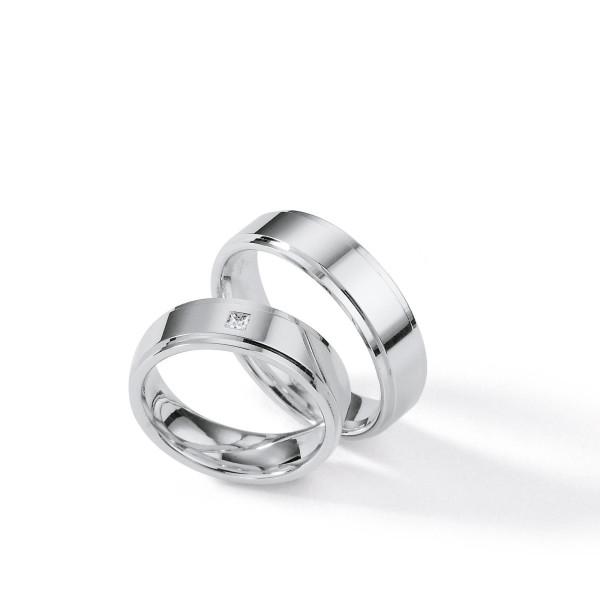 2 x Silber 925 Trauringe mit Diamant - Silver Brilliance 116Z