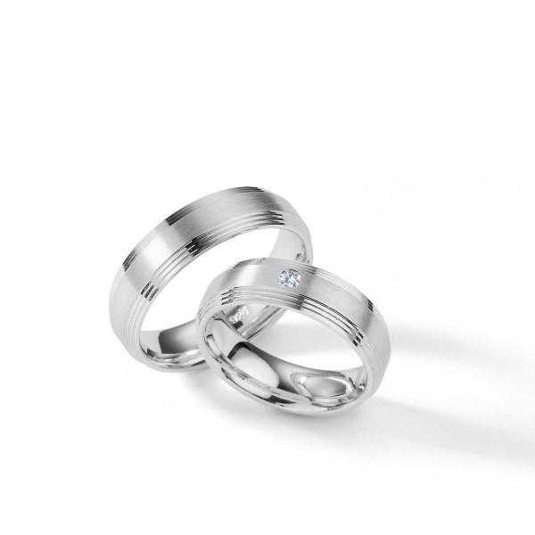 2 x Silber 925 Trauringe mit Diamant - Silver Brilliance 120Z