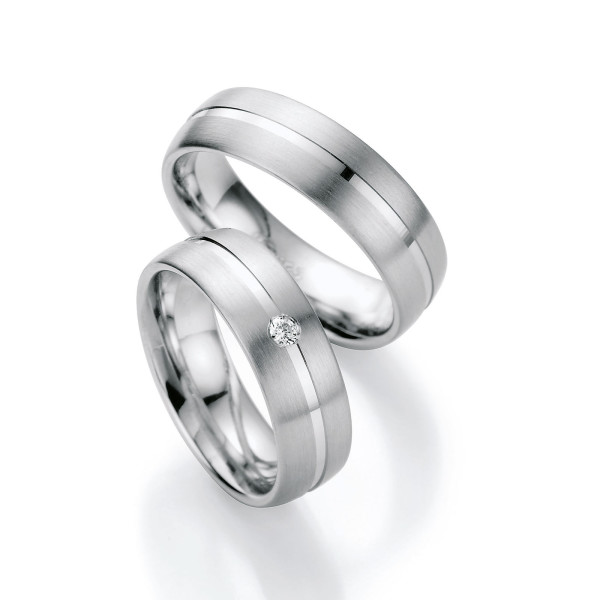 2 x Silber 925 Trauringe mit Diamant - Silver Brilliance 122Z