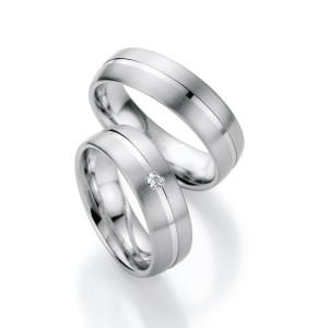2 x Silber 925 Trauringe mit Diamant - Silver Brilliance...