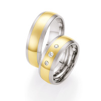585er Gold&Stahl mit Brillant Trauringe Eheringe Verlobungsringe inkl.Gravur
