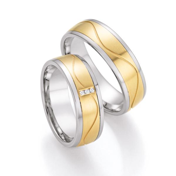 585 Gold & Stahl mit Brillant Trauringe Eheringe Verlobungsringe inkl.Gravur 003