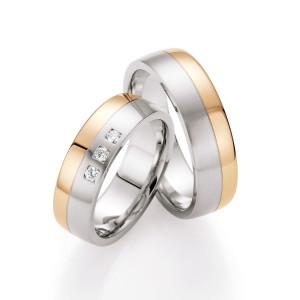 585 Gold & Stahl mit Brillant Trauringe Eheringe...