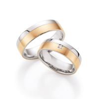 585 Gold & Stahl mit Brillant Trauringe Eheringe Verlobungsringe inkl.Gravur