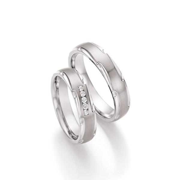 2 x Titan Trauringe mit Diamant Eheringe Partnerringe Avantgarde inkl. Gravur
